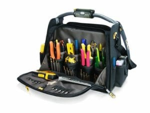 L245 18-Inch Tech Gear Dual-Compartment Tool Carrier with LED Lighted Handle by Custom Leathercraft
